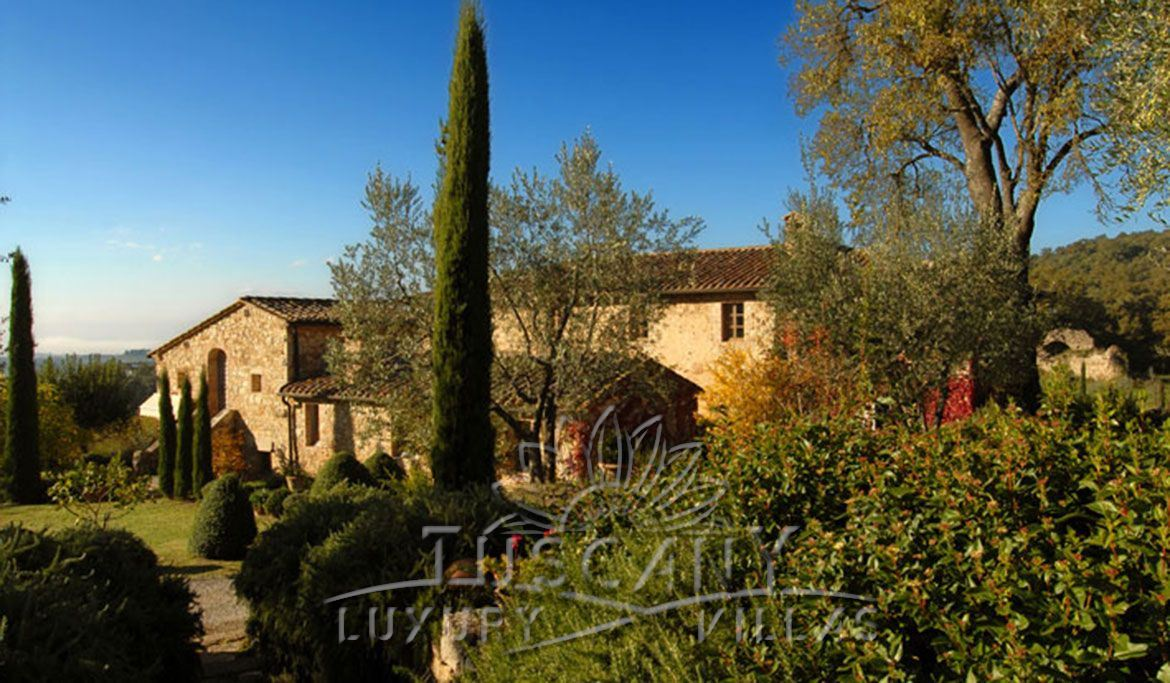 Winery immersed in Tuscany Siena countryside near village: Outside view