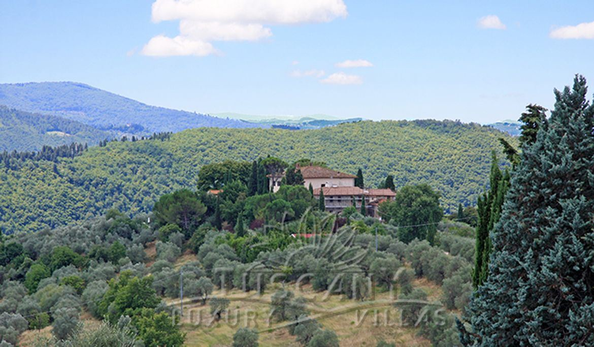 Luxury villa for sale in Florence hills with pool: Outside view